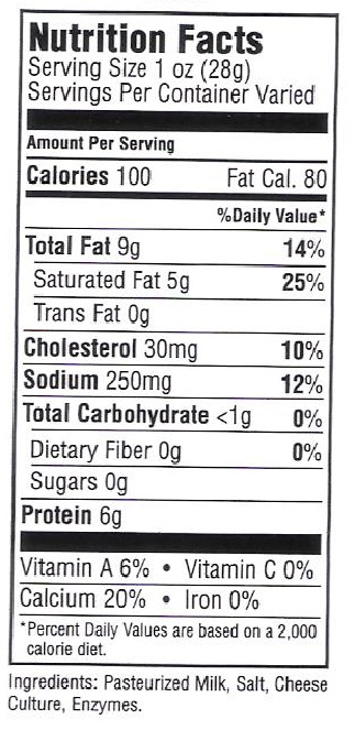 Nutrition Facts Ackawi Cheese